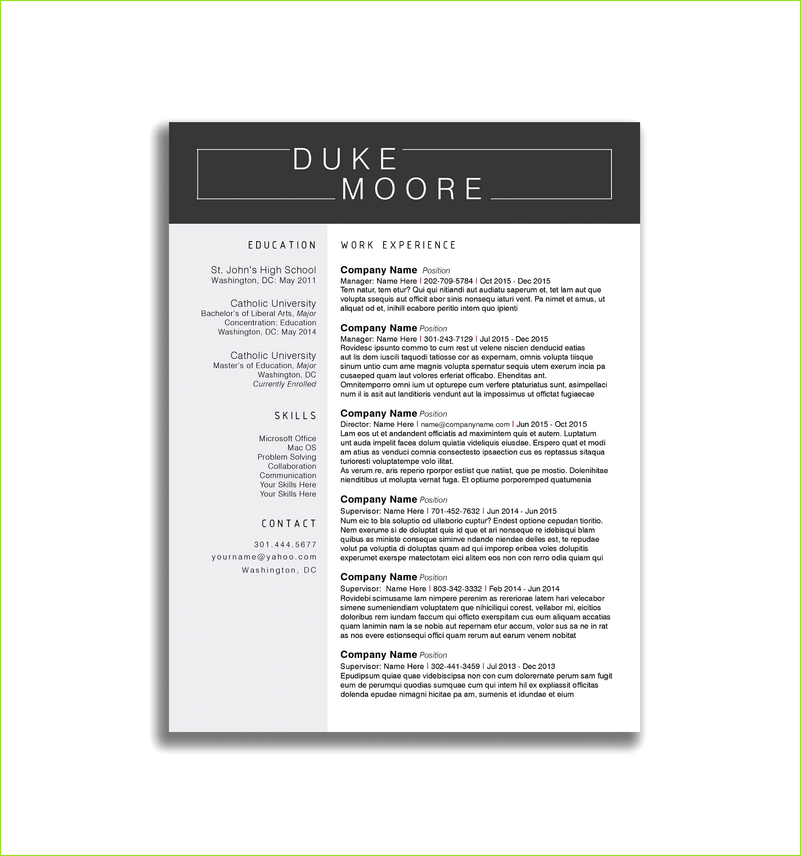 Sample Resume Templates Free Download Reference Resume Cv Docx Inspiration Curriculum Vitae Simple Francais