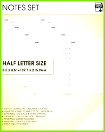 Notes kit half size printable planner inserts grid notes paper printable dot grid notebook