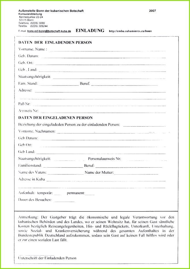 Einladung Nach Deutschland formular Einladung Visum Muster Privat
