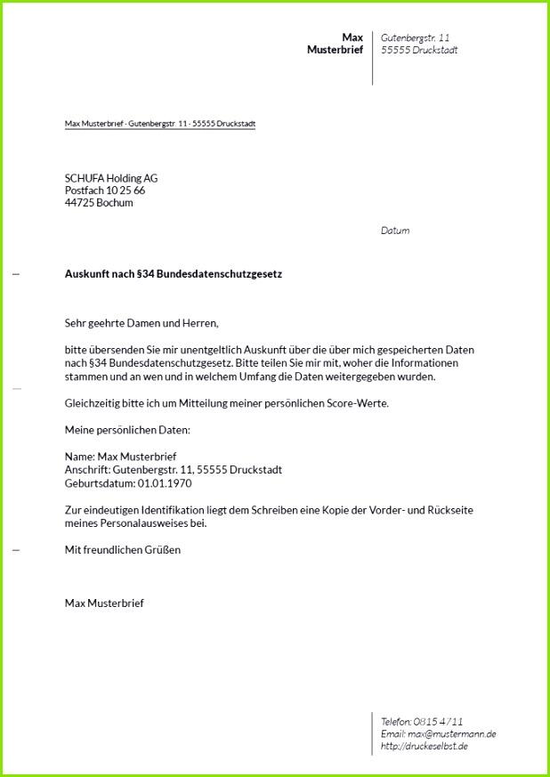 Musterbrief für eine kostenlose SCHUFA Auskunft