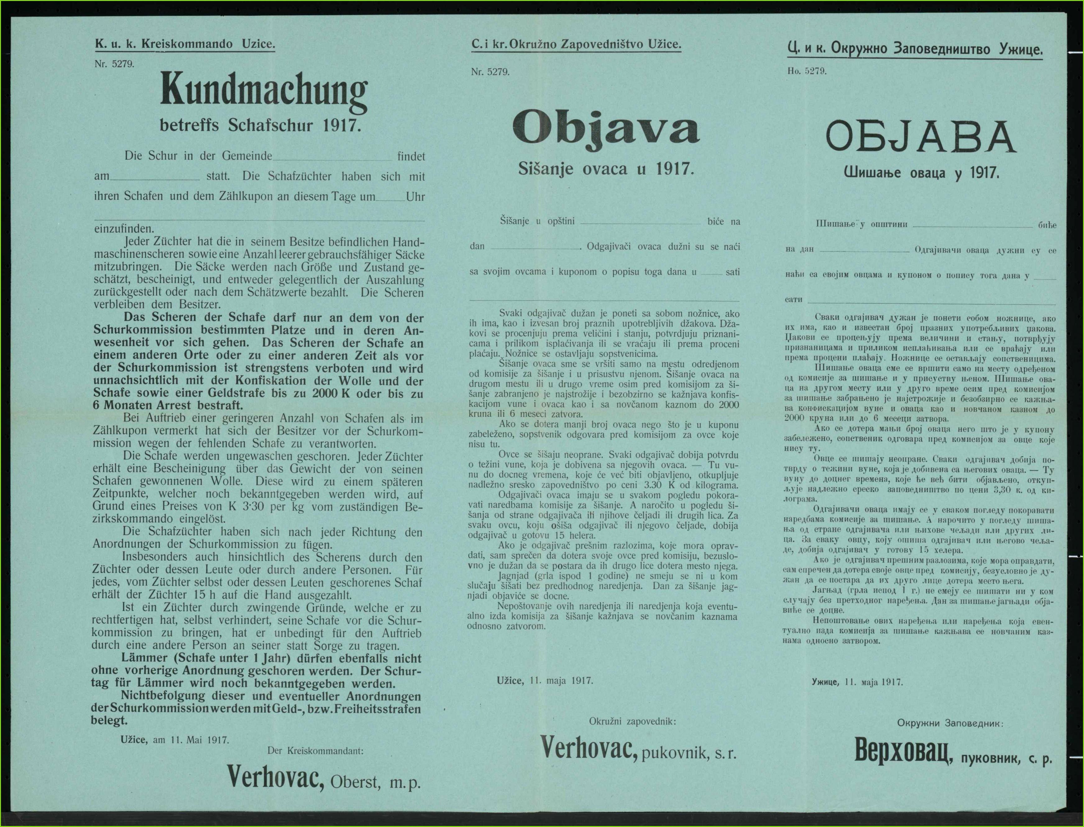 vordruck geml schafschur 1917 kundmachung uzice mehrsprachiges plakat 7d205b