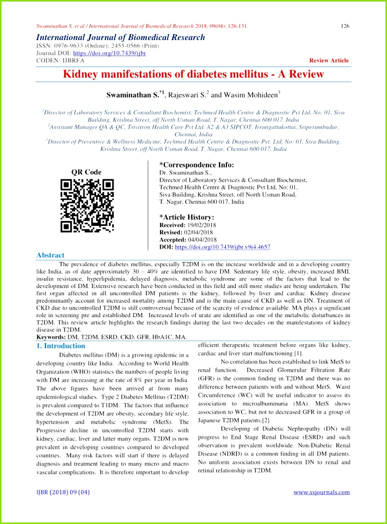 PDF Prevalence of chronic kidney disease in patients with type 2 diabetes mellitus treated in primary care