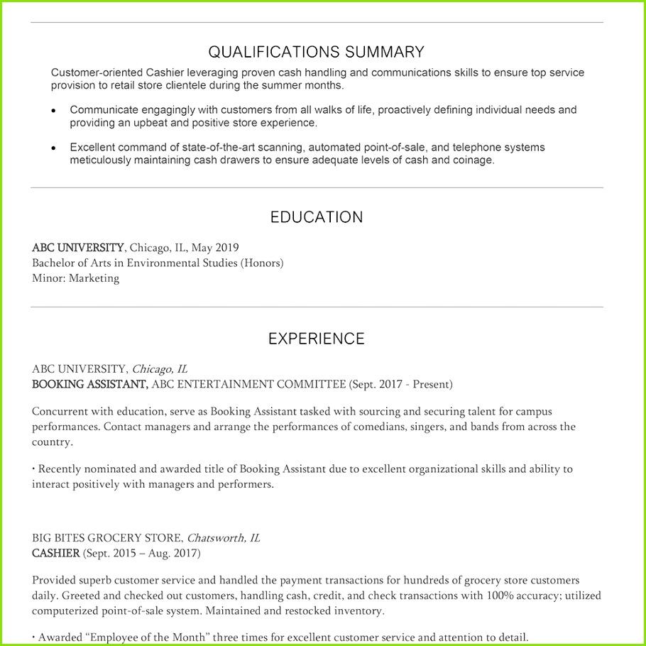 Screenshot of a summer cashier resume template