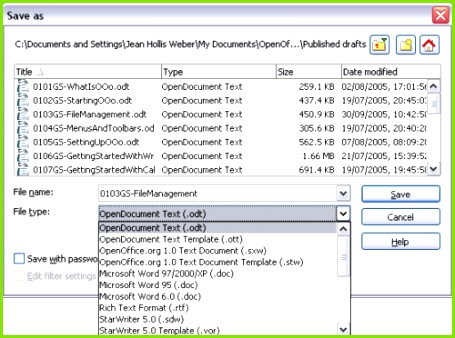 Figure 2 The Open fice Save As dialog showing some of the Save
