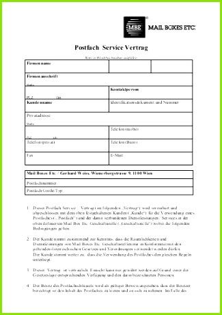 Postfach Service Vertrag MBE Austria