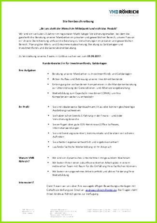 Stellenangebot bei VMB Roehrich