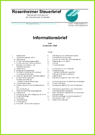 Rosenheimer Steuerbrief Informationsbrief