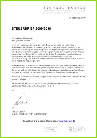 Steuerbrief 2009 2010 Richard Bosser