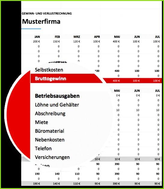 Gewinn und Verlust GUV Vorlage Muster für Excel