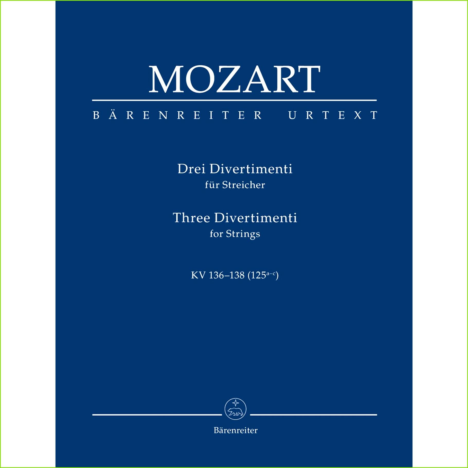 Mozart WA Three Divertimenti for String Quartet K 136 137 138