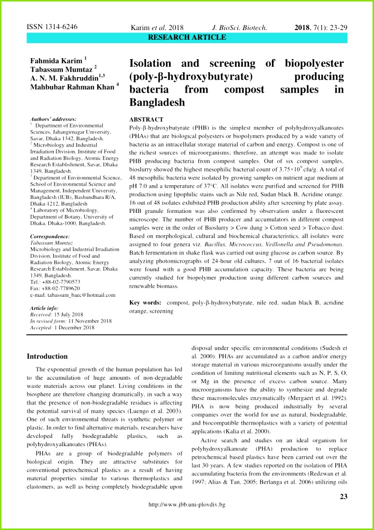 PDF A sensitive viable colony staining method using Nile Red for direct screening of bacteria that accumulate polyhydroxyalkanoic acids and other lipid