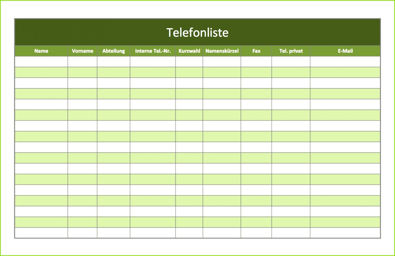 Screenshot der Excelvorlage Telefonverzeichnis