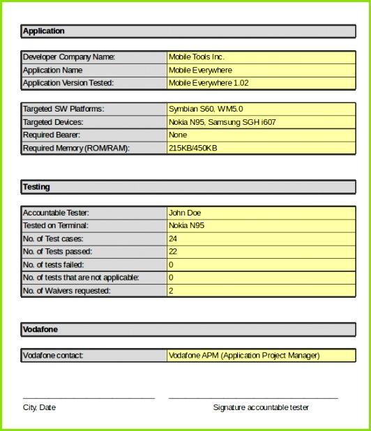 Application Developer Internal Test Cases Template Excel Format