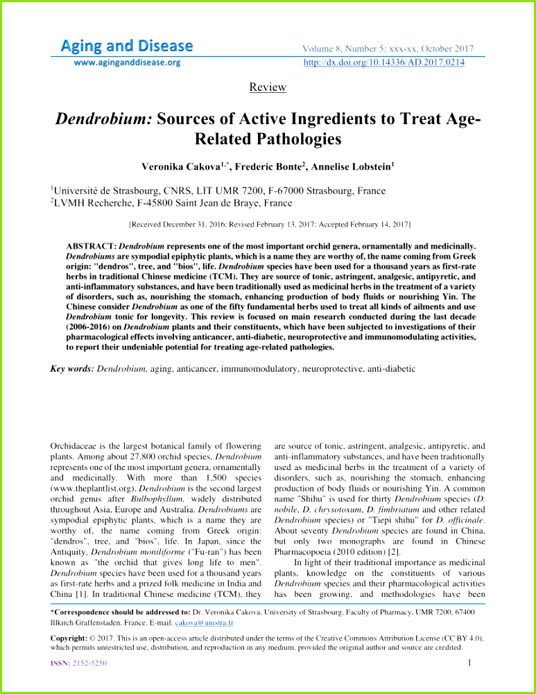 PDF Dendrobium Sources of Active Ingre nts to Treat Age Related Pathologies