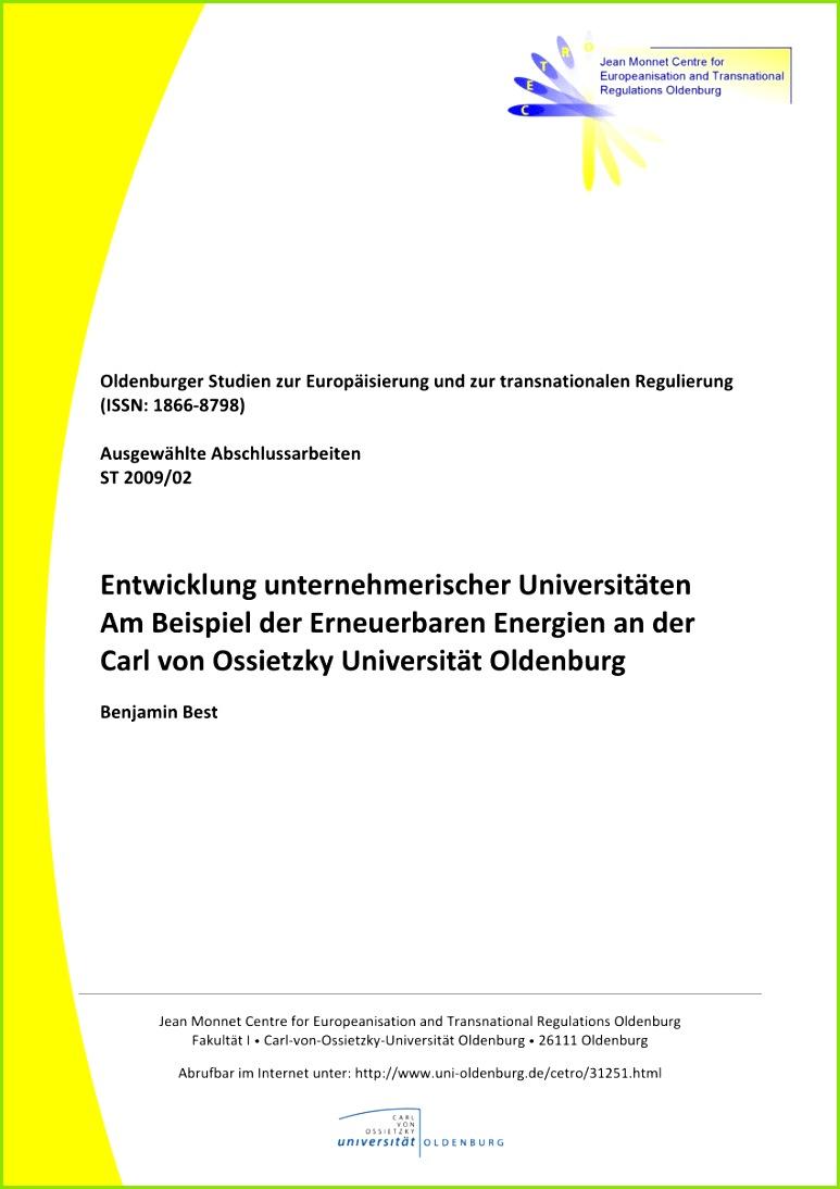 PDF Entwicklung unternehmerischer Universitäten Am Beispiel der Erneuerbaren Energien an der Carl von Ossietzky Universität Oldenburg
