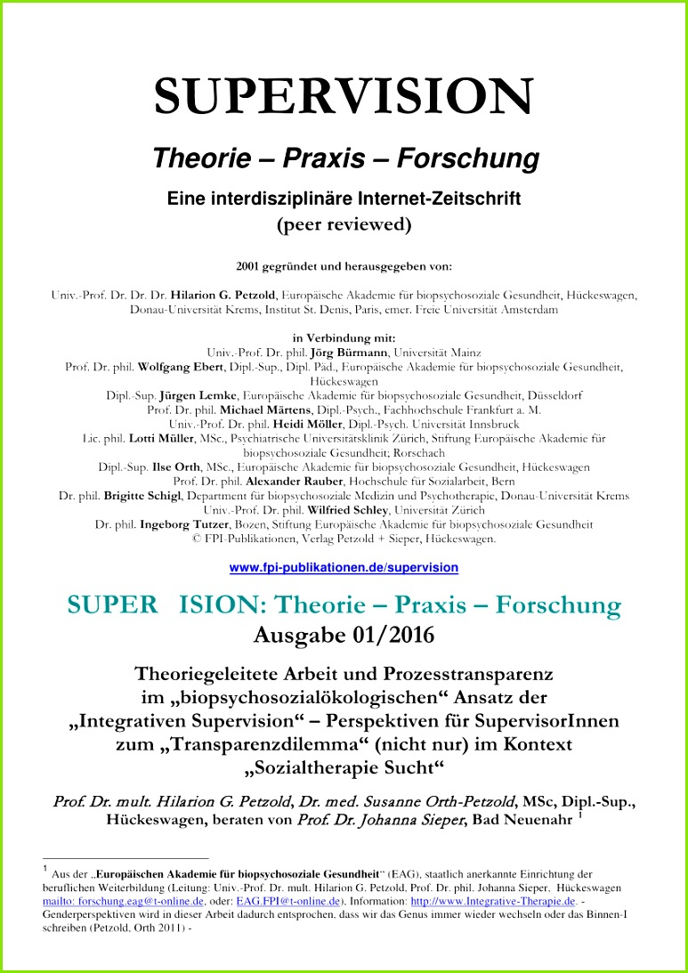 """PDF Theoriegeleitete Arbeit und Prozesstransparenz im """"biopsychosozialökologischen"""" Ansatz der """"Integrativen Supervision"""" – Perspektiven für"""
