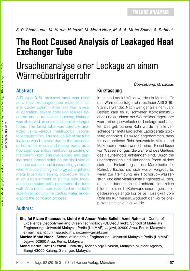 PDF The Root Caused Analysis of Leakaged Heat Exchanger Tube