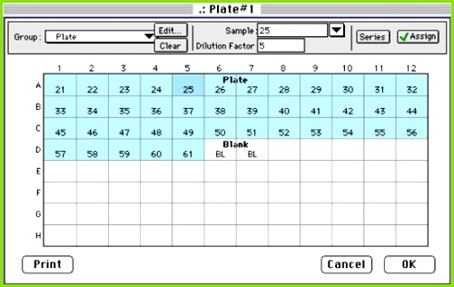 Figure 10 The Plate section Template Editor showing the series set up