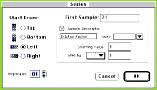 was created in the Plate section Template Editor and assigned the Basic format Rows A though D were highlighted and the Series button clicked to access