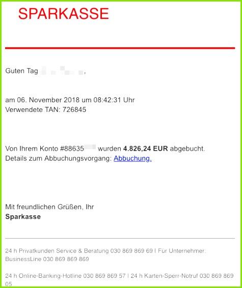 2018 11 06 Sparkasse Spam Mail Phishing Bestätigung Zahlungseingang