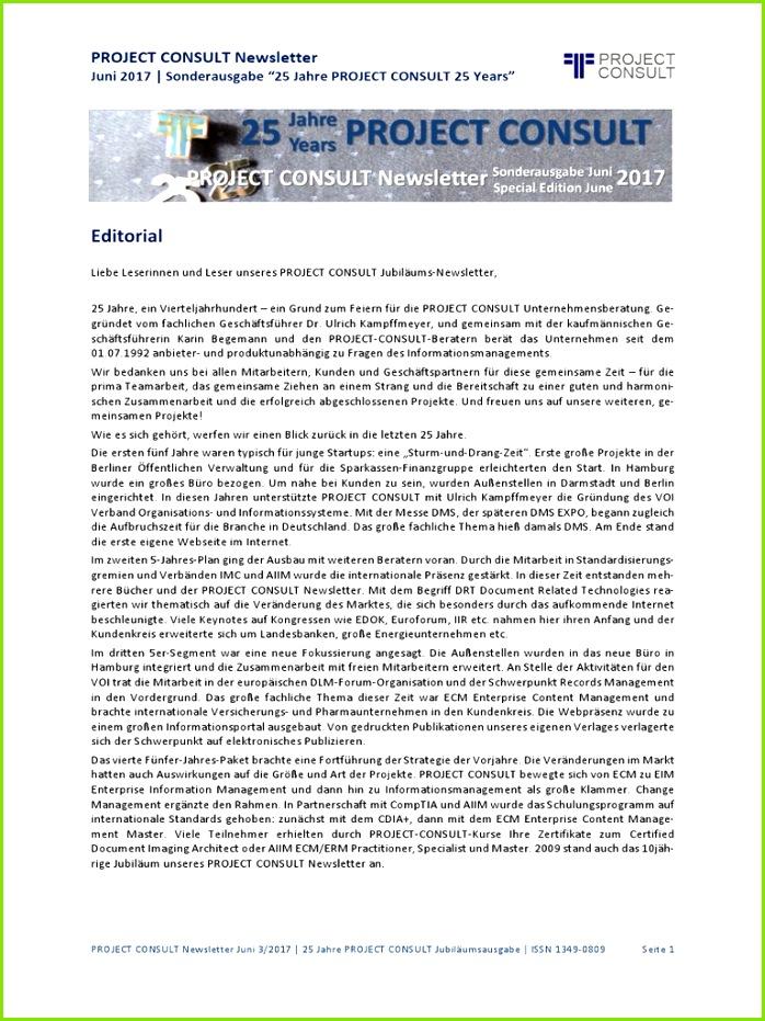[DE] Project Consult Newsletter 25 Jahre Jubiläum Dr Ulrich Kampffmeyer