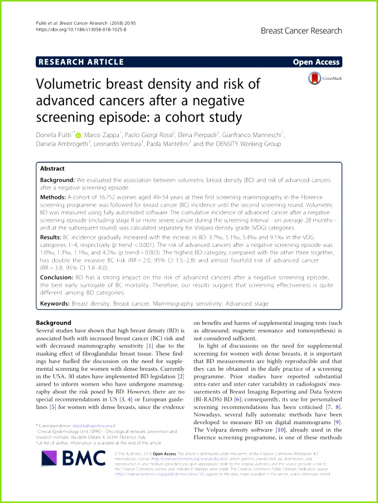 PDF The effect of volumetric breast density on the risk of screen detected and interval breast cancers A cohort study