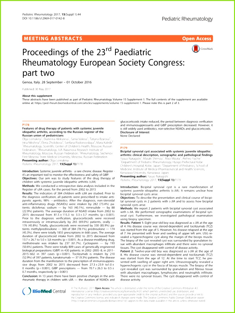 PDF Proceedings of the 23rd Paediatric Rheumatology European Society Congress part two
