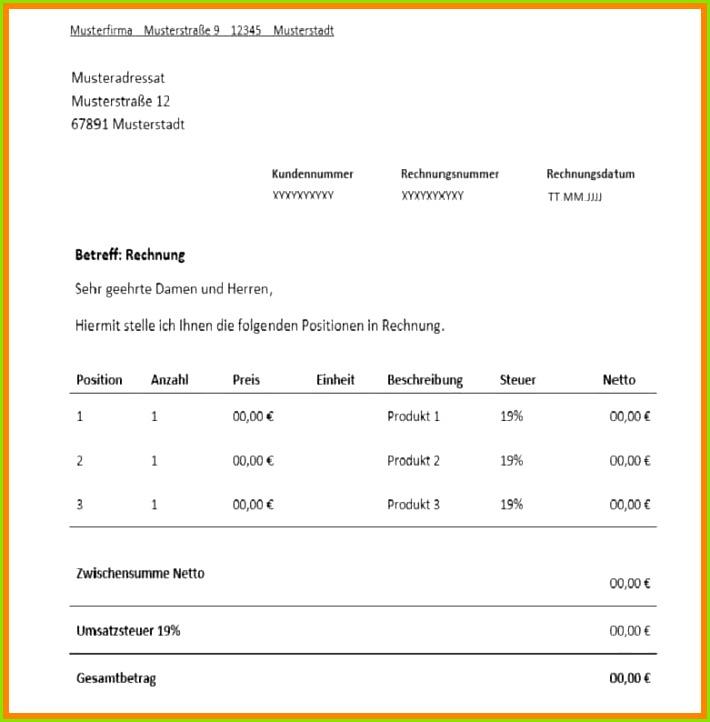 Rechnungmuster Rechnung Freelancer Muster Vorlage Vorschaubild 3