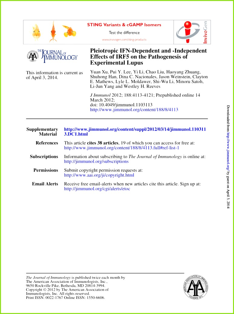 PDF Induced Murine Models of Systemic Lupus Erythematosus