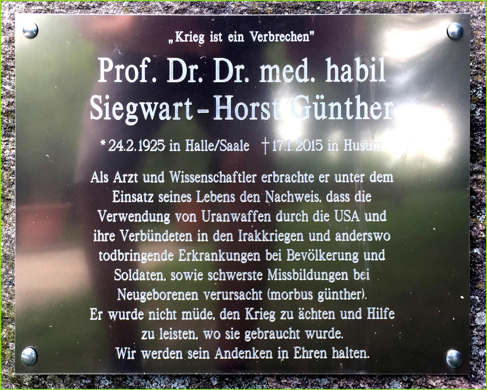 Gedenktafel Siegwart Horst Günther
