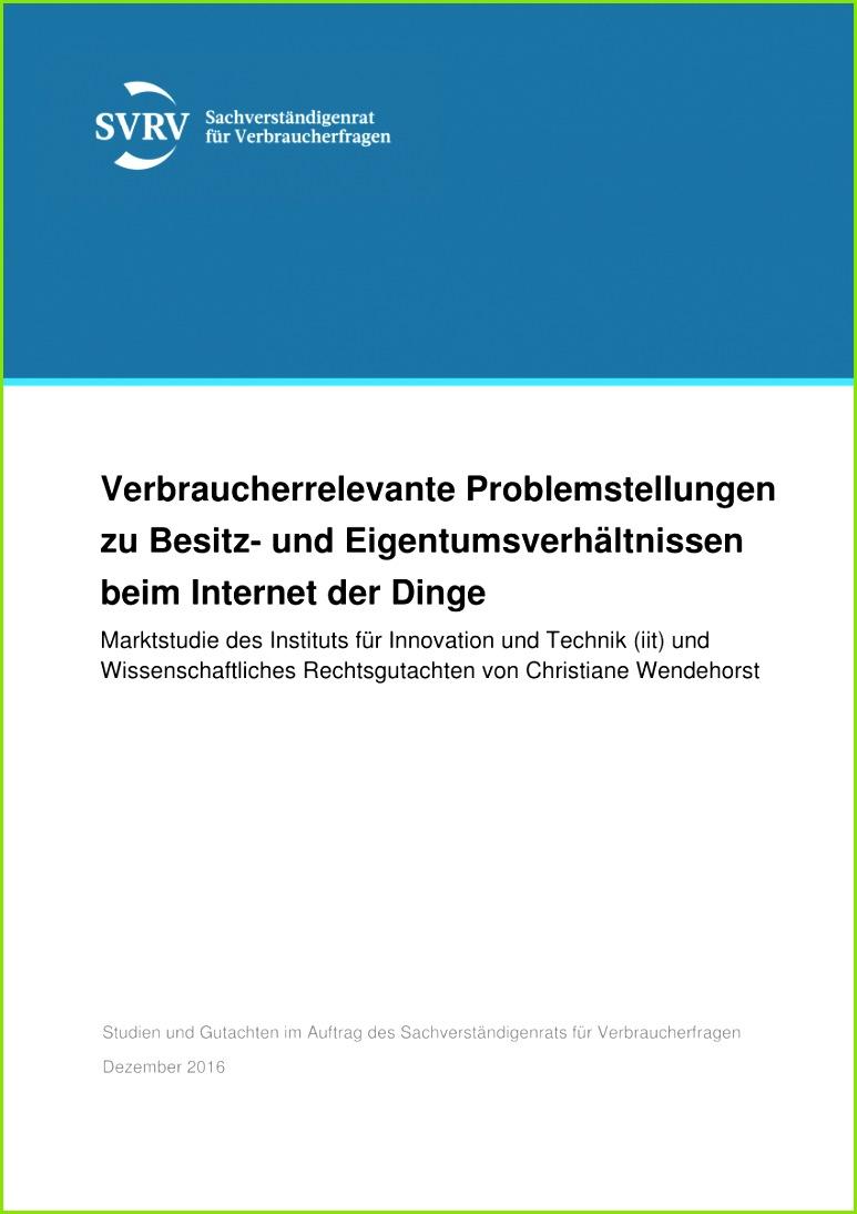 PDF Eigentums und Besitzverhältnisse im Internet der Dinge Marktstu