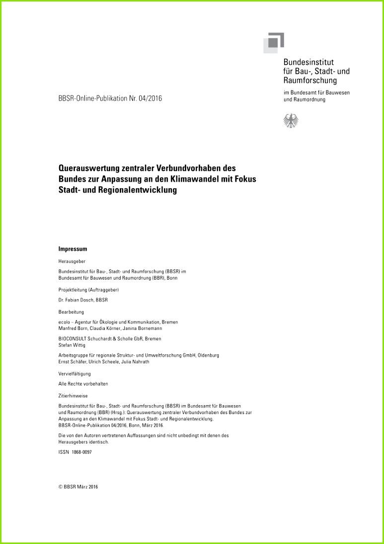 PDF Querauswertung zentraler Verbundvorhaben des Bundes zur Anpassung an den Klimawandel mit Fokus Stadt und Regionalentwicklung