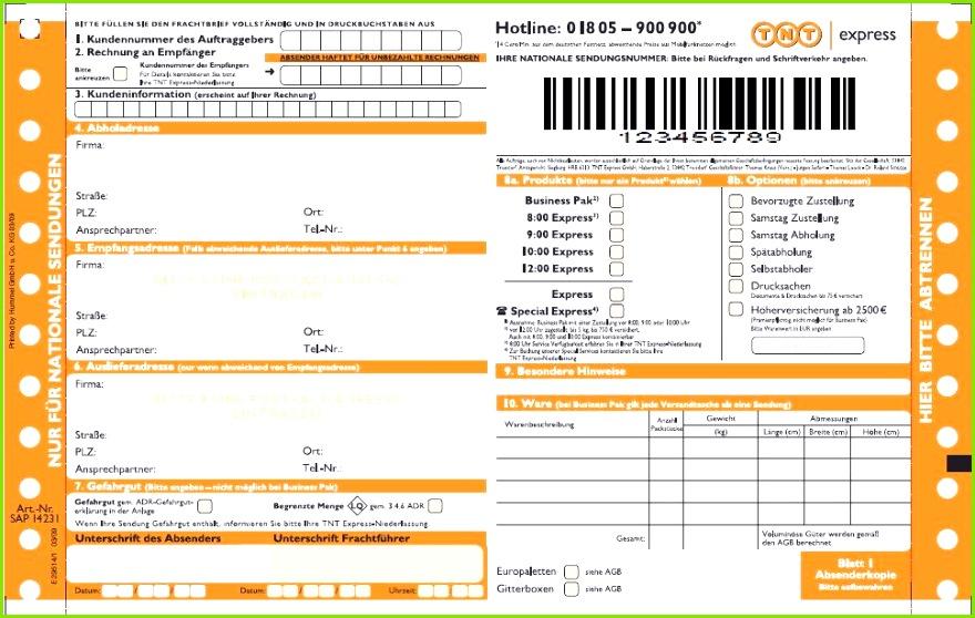 TNT Paketschein und Frachtschein erklärt bei Paketda