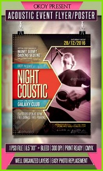 Acoustic Event Flyer Poster Template PSD Event Flyer Templates Psd Templates Music Flyer