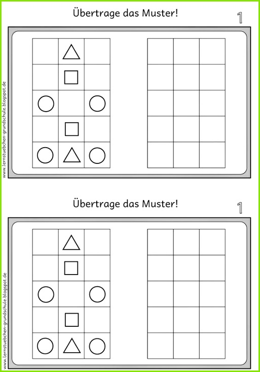 Lernstübchen Muster übertragen 1 Preschool Worksheets Preschool Activities Kindergarten Portfolio