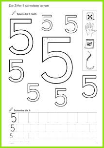Ziffer 5 schreiben lernen Mathematik 1 Klasse und Vorschule