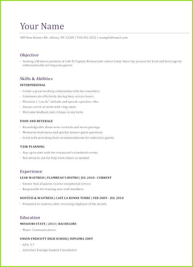 John Doe Resume Examples 27 Fresh Waitress Resume Sample by John Doe Waitress Resume Example Waitress