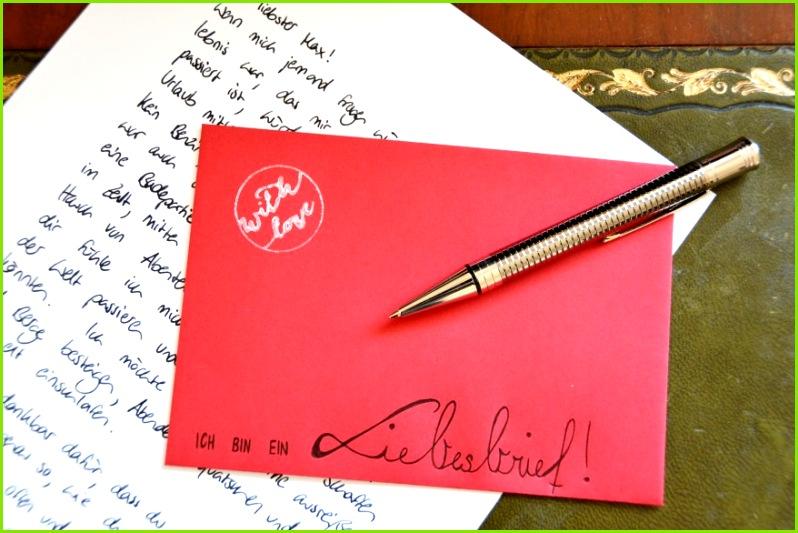 Valentinstag Liebesbrief Umschlag Kugelschreiber Stempel Parker