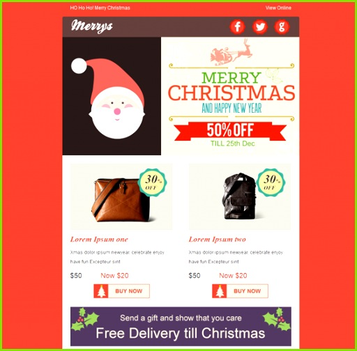 This holiday and Christmas email template offers a drag and drop editor CampaignMonitor and MailChimp patibility a responsive layout unlimited layouts