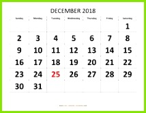 Free Download Dec 2018 Calendar Printable Pdf here Blank and Cute Dec 2018 Printable Calendar Template with Notes are available with USA UK Canada