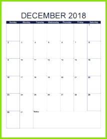 Free December 2018 Calendar With Public Holidays here Blank and Cute Dec 2018 Printable Calendar Template with Notes are available with USA UK Canada