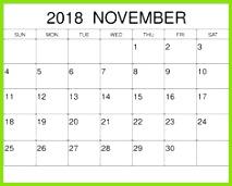 2018 November Calendar With Festival List