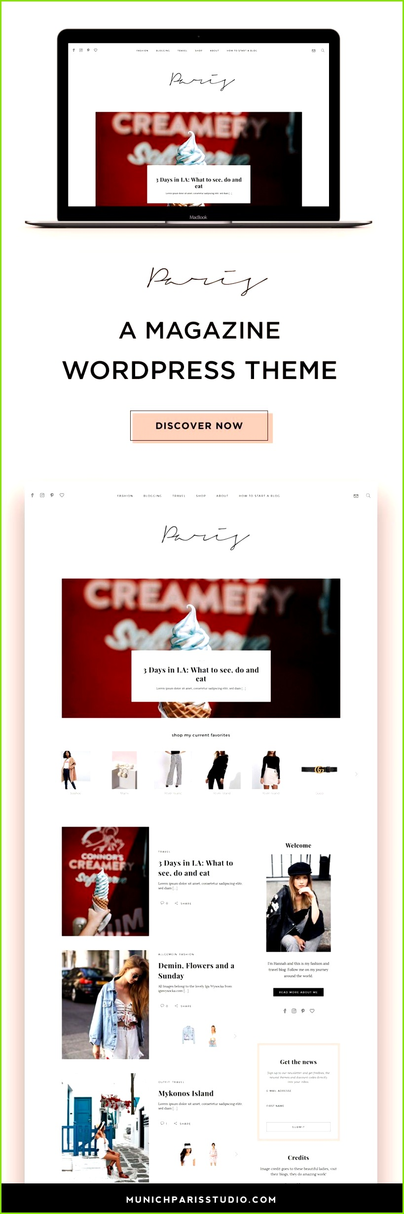 Paris is a fancy cute and highly customizable WordPress Theme perfect for lifestyle and fashion