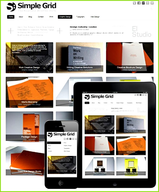 Simple Grid Theme Responsive is a WordPress Theme with mobile and tablet responsive design Grid like design Theme is perfect for any creative agency to