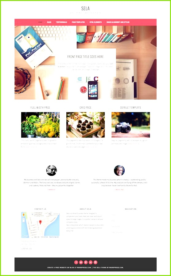 Sela Theme front page with large image 3 page intros testimonials several