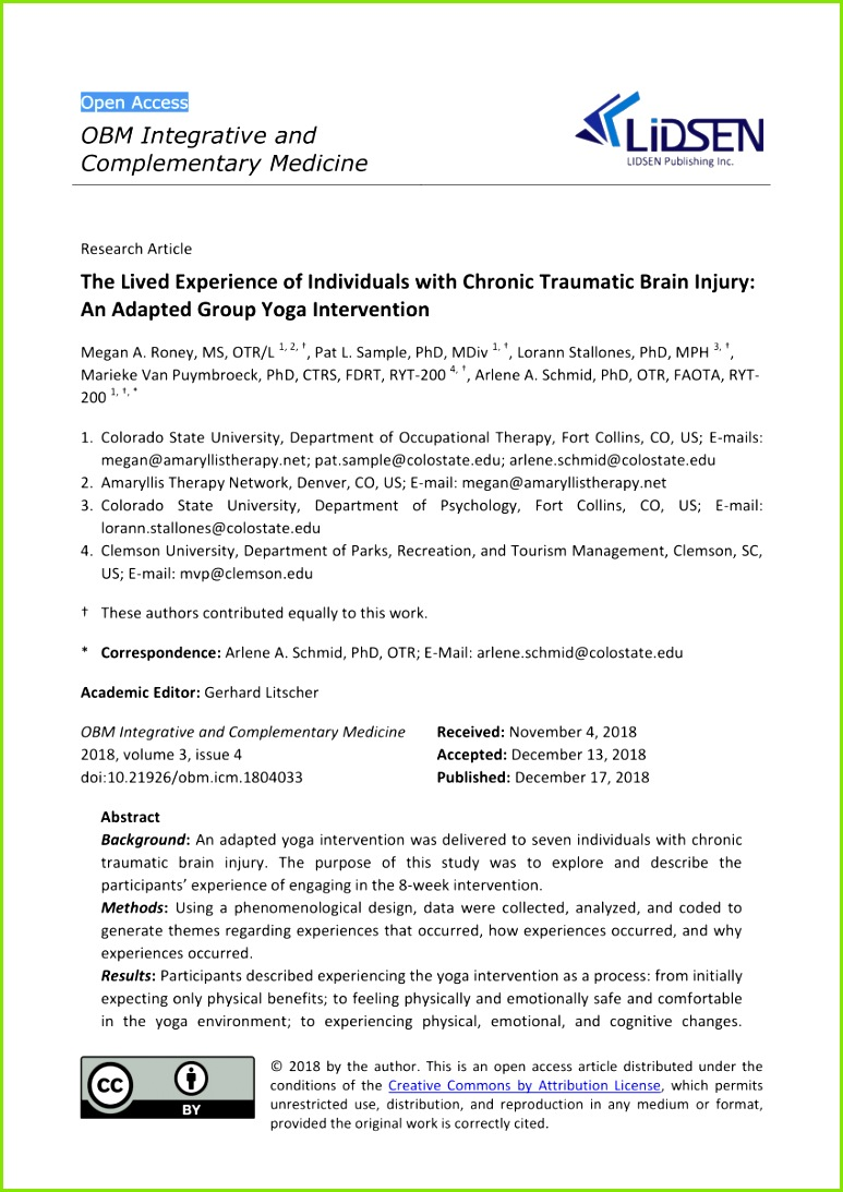 PDF The Lived Experience of Individuals with Chronic Traumatic Brain Injury An Adapted Group Yoga Intervention
