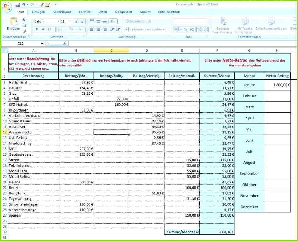 Haushaltsbuch kassenbuch excel vorlagen shop for Wirtschaftsplan muster excel