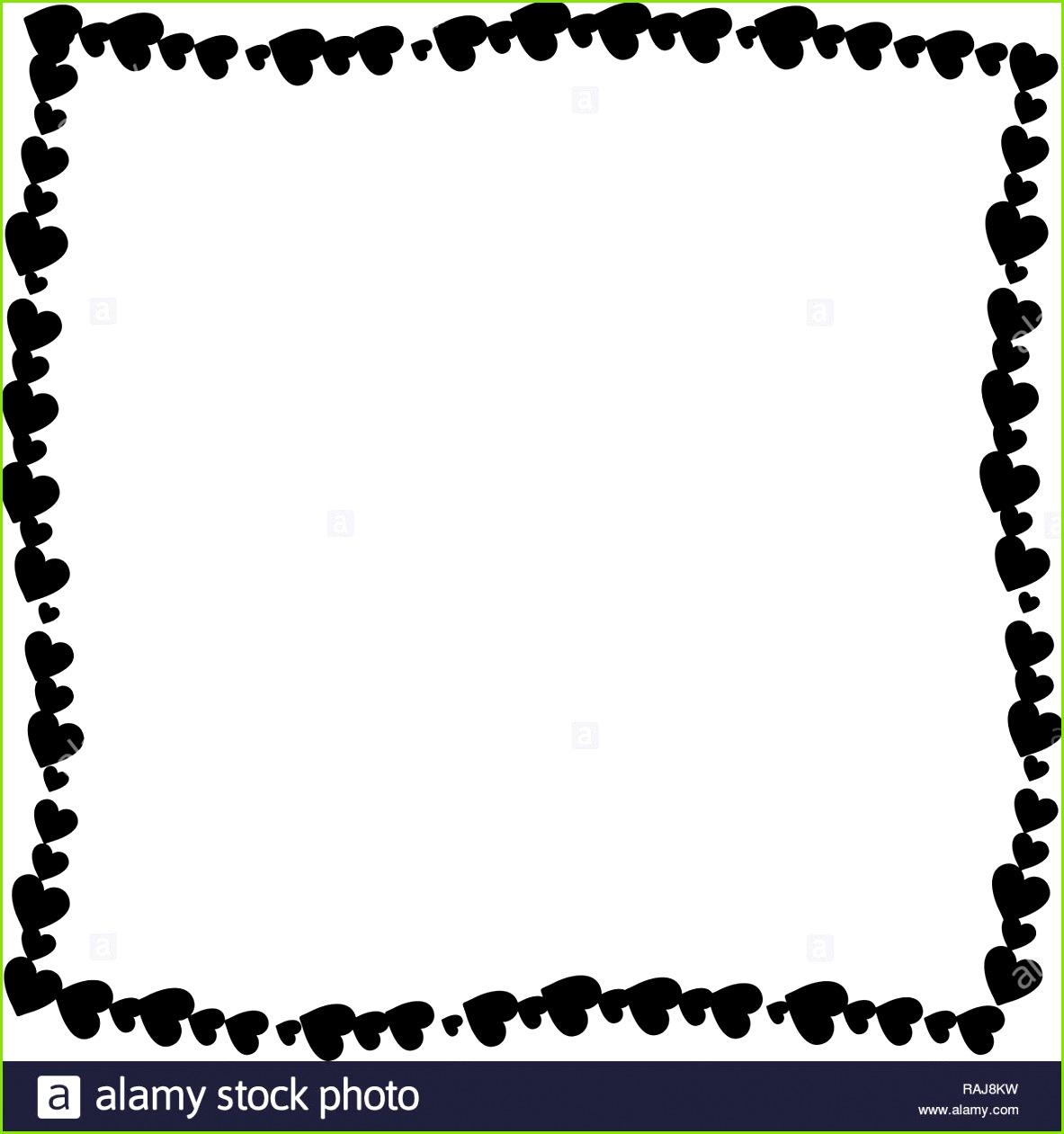 Liebe twisted Rahmen aus Cartoon schwarz unterschiedlich großen Herzen auf weißem Hintergrund Cute Valentines oder