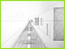 Fluchtpunktperspektive mit einem Punkt Straße zum Horizont – Zeichnen lernen Howto Draw