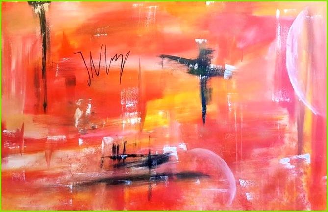 Acrylbild Mischtechnik Abstrakt Rot Orange
